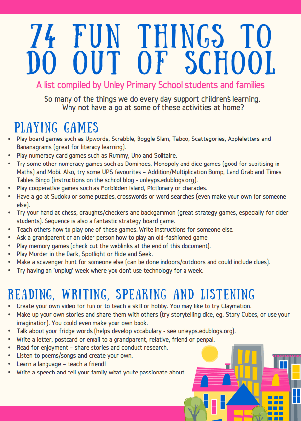 74 Fun Things To Do Out Of School Unley Primary School News
